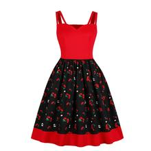 Women Midi Dresses Summer New Elegant Sexy Travel Vintage Red Sweet Aline Zipper Floral Retro Female Fashion 2019 Dress Cute(China)