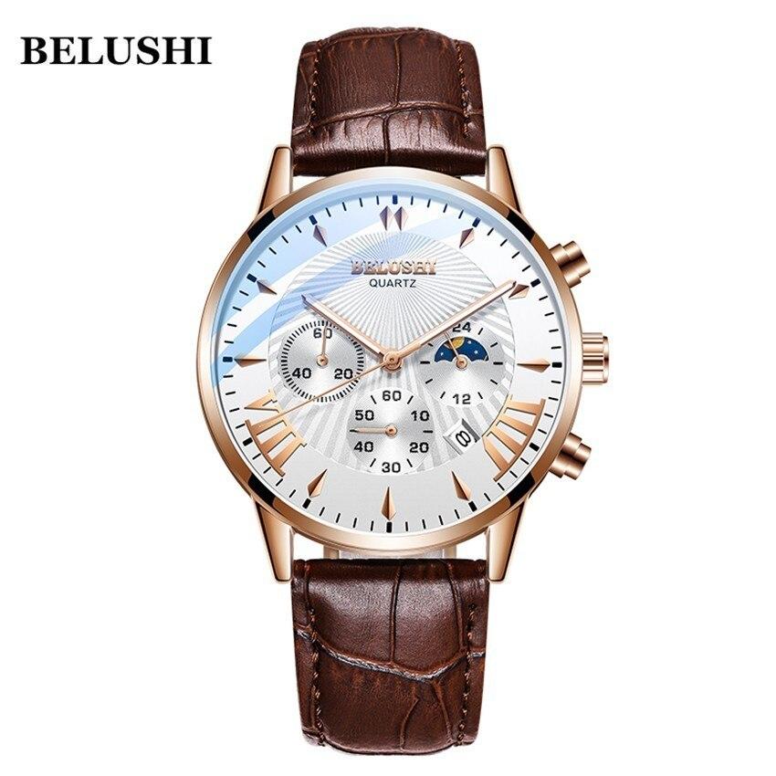 Belushi dos homens relógios Top Marca de luxo Militar Relógios Esportes Dos Homens De Quartzo Relógio de Pulso de Couro À Prova D' Água Relógio Masculino Reloj Hombre