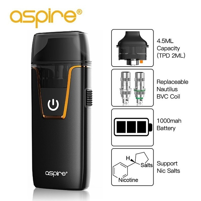 Electronic Cigarette Vape Pod System aspire Nautilus AIO Starter Kit with 1.8ohm NS MTL Coil 4.5ML Capacity Replaceable Cartidge