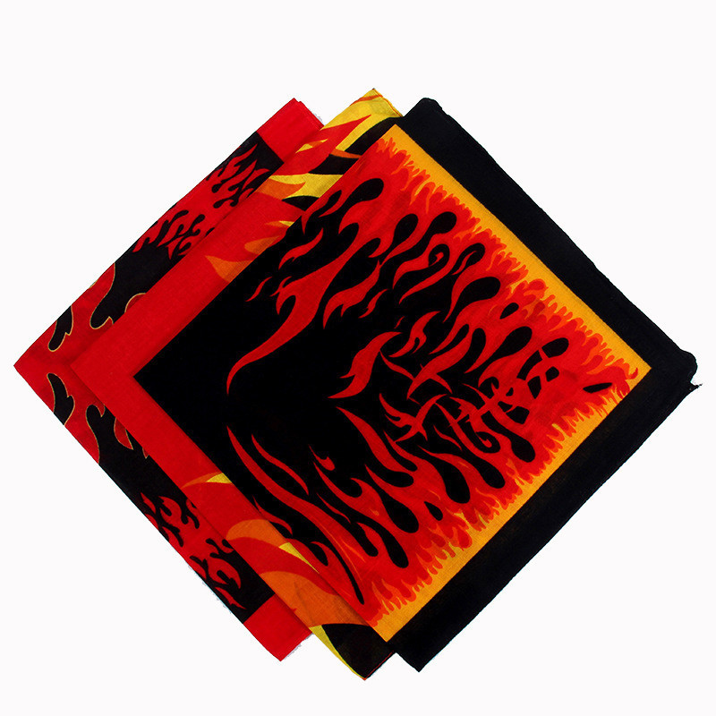 Fire Flames Print Bandana Scarves Hip Hop Men Bboy Women Headscarf Head Scarves Neck Ties Cycling Face Masks Wristband Headwear