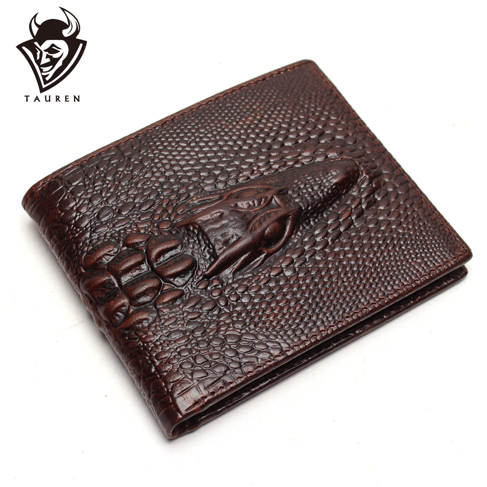 Crocodile Head Wallet Fashion Wallet Men Pattern Leather Purse Top Quality Mens Wallets Luxury Male Clutch Crazy Horse Purses