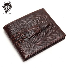 Crocodile Head Wallet Fashion Wallet Men Pattern Leather Purse Top Quality Mens Wallets Luxury Male Clutch Crazy Horse Purses(China)
