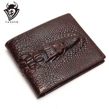 цена на Crocodile Head Wallet Fashion Wallet Men Pattern Leather Purse Top Quality Mens Wallets Luxury Male Clutch Crazy Horse Purses
