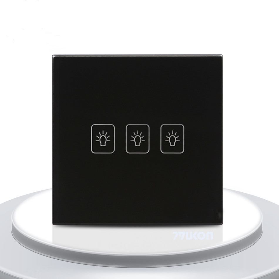 EU Standard Hot Sale Touch Switch 3 Gang 2 Way Light Switch For Black Color Touch Screen Wall Switch Wall Socket For Lamp in Switches from Lights Lighting
