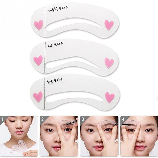 3pcs Simple Eyebrow Mold Guide Card Eyebrow Stencil Shaping Grooming Eye Brow MakeUp Template Reusable Eyebrows Styling Tool #40