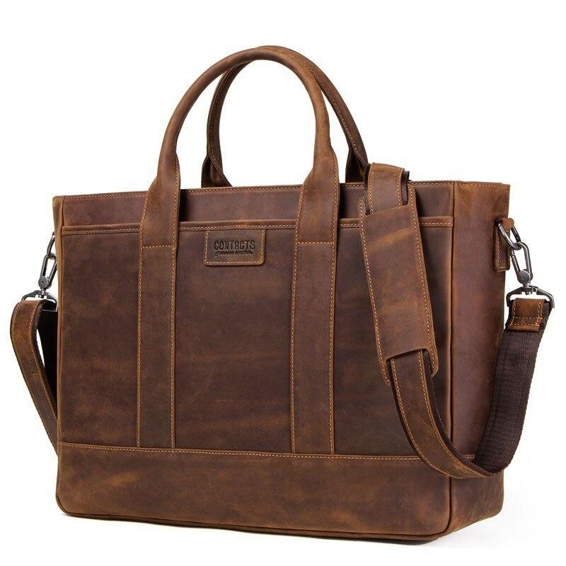 Men Briefcase Crazy Horse Leather Shoulder Bags Vintage Crossbody Bags Business Office Handbags Men's Travel 15.6  Laptop Bag