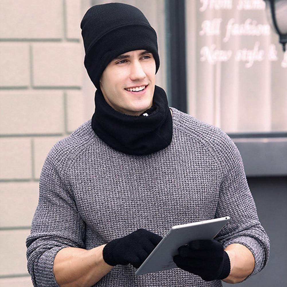 Winter Warm Beanie Hat + Scarf + Touch Screen Gloves, Unisex Thermal Winter Warm Knitted Beanie Hat Neck Glove for Men Women B