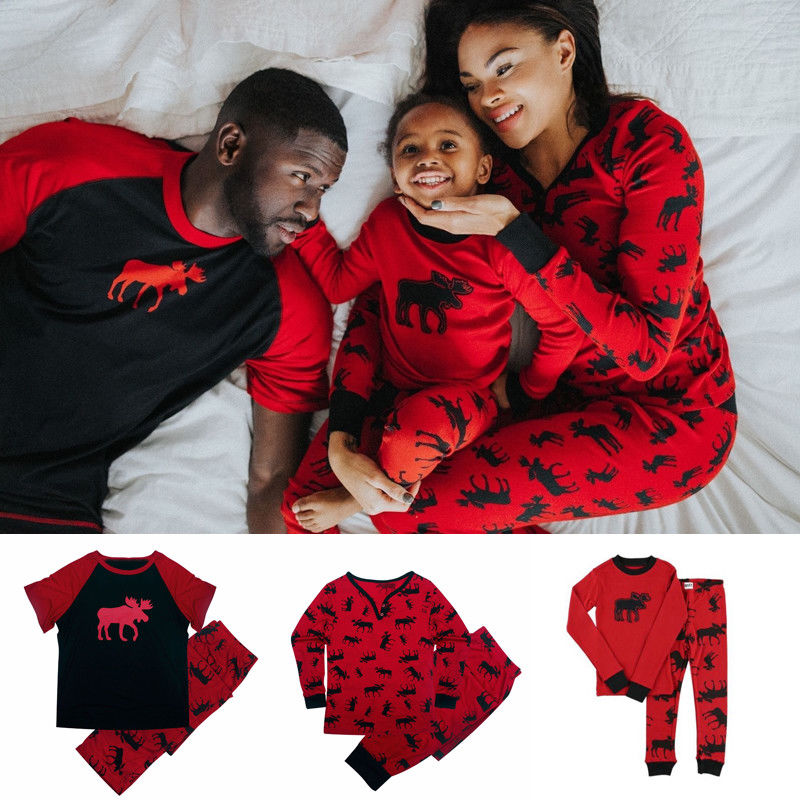 Family Matching Outfits Christmas-Pajamas-Set Nightwear Sleepwear Women Kids Adult Brand-New