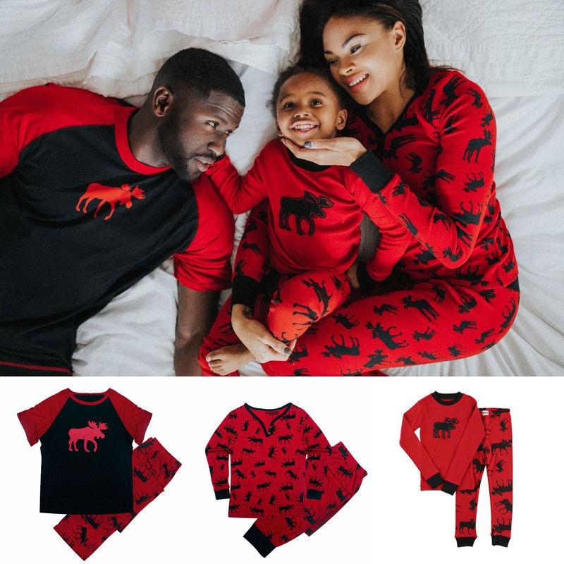 Brand New Family Matching Outfits Christmas Pajamas Set Xmas Family Matching Pajamas Adult Women Kids Sleepwear Nightwear