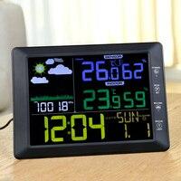 TS 8210 BK Barometer Indoor Outdoor Temperature Humidity Digital Alarm Clock