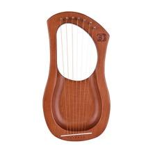 Уолтер. 7-String деревянный Лира Арфы металлическими струнами из березы твердый лесенка из дерева и веревки инструмент с сумкой для переноски WH06