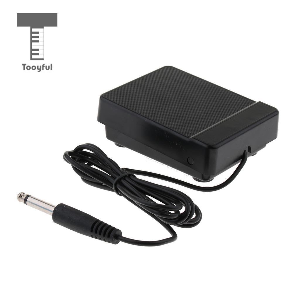 Tooyful Durable Black 6.35mm Jack Sustain Pedal Foot Switch Low Noise For 61key 88key Electronic Piano Accessory
