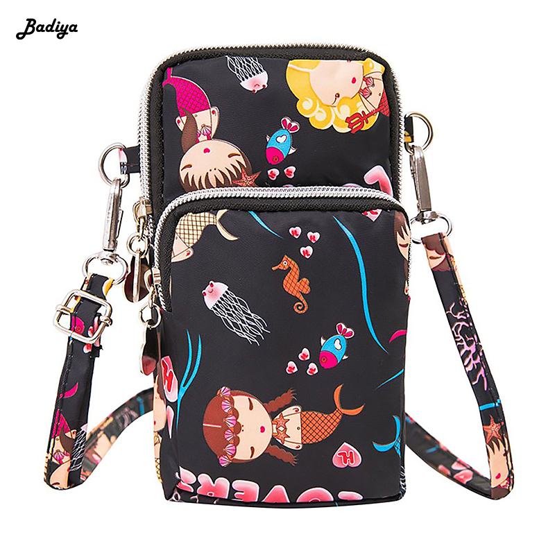Waterproof Nylon Universal Shoulder Bag For Cell Phone Casual Wrist Pouch Soft Coin Purse Wallets Interior CompartmentWaterproof Nylon Universal Shoulder Bag For Cell Phone Casual Wrist Pouch Soft Coin Purse Wallets Interior Compartment