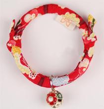 Maneki Neko Kimono Soft Cotton Lucky Cat Pet Flea Collar with Bell for Small Dog Collar Adjustable Cat Collars