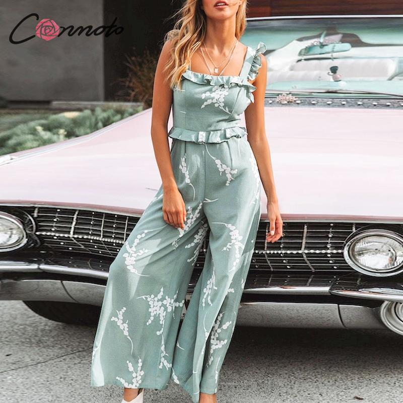 Conmoto Fashion Print Green High Waist Jumpsuit Women 2019 Summer Backless Wide Leg Long Rompers Female Plus Size Bodysuit