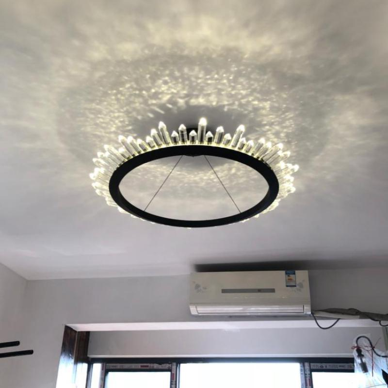 Bar round Suspension Crystal chandelier for dining room Living Room led Ring hanging light Chandeliers home lights & Lighting