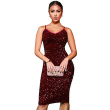 MUXU sexy red sequin dress patchwork backless suspender dress fashion  bodycon glitter woman clothes party kleider elbise vestido 3d2f87297711