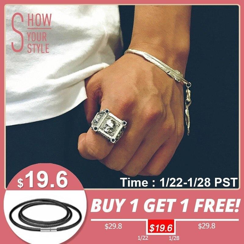 ZABRA Adjustable Size 925 Sterling Silver Skull Rings For Men Zircon Ring Vintage Puck Rock Biker Jewelry