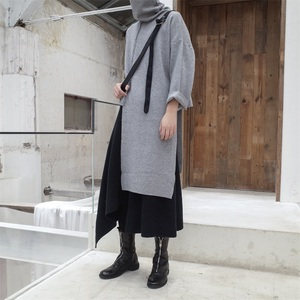 Image 5 - EAM pull tricoté pour femmes, nouveau pull à col haut à manches longues noir, avec couture irrégulière, grande taille, à la mode, JL734, printemps automne 2020