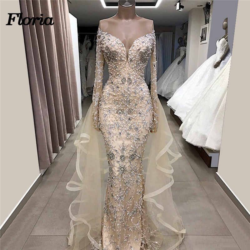 7fb4610248 Champagne Beaded Long Evening Dresses 2019 New Arabic Couture Dubai ...