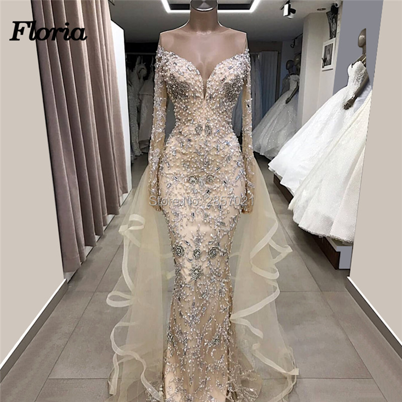 Champagne Beaded Long   Evening     Dresses   2019 New Arabic Couture Dubai Formal Prom   Dress   Abendkleider Sexy Off Shoulder Party Gowns