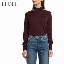 HYH HAOYIHUI Simple fashionable pure color neck-hung sexy hollow easy to wear wine-red sweater