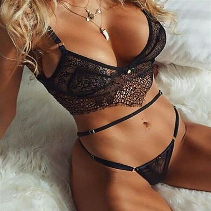 Women Transparent Lace Swimwear Bandage Bikini Set Push-Up Padded Bra Mid Waist Thong Bottom Swimsuit Two Pieces Sexy Beachwear