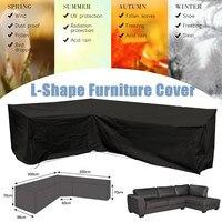 Полиэстер L Форма угловой диван для наружного пользования, крышка 3 м x 3 м садовая мебель для патио крышка на все случаи жизни, пылезащитные Ч...