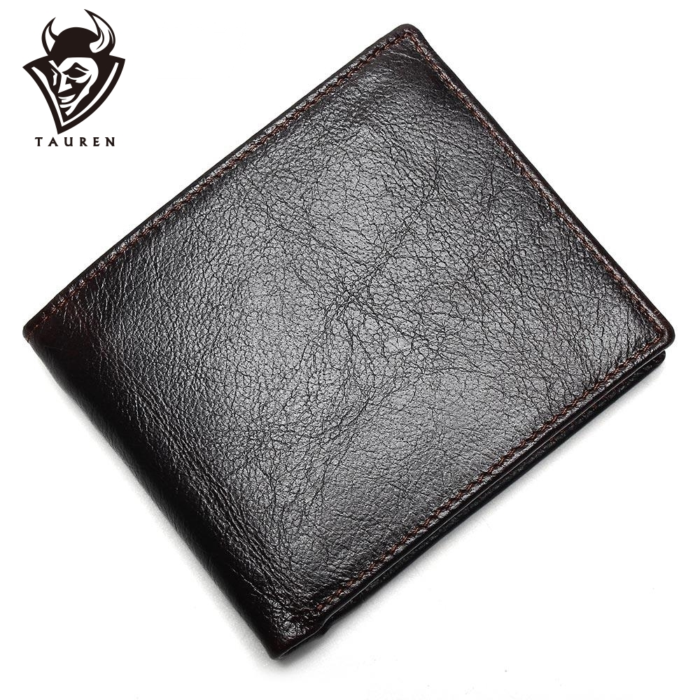 100% Genuine Leather Mens Wallet Premium Product Real Cowhide Wallets For Man Short Black Walet Portefeuille Homme