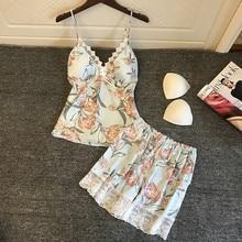 2019 Pyjamas Women Satin Sleepwear Flower Print Sleeveless Strap Silk Nightwear Lace Cami Top Pajamas Sets Pijama