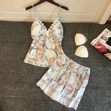 2019 Pyjamas Women Satin Sleepwear Flower Print Sleeveless Strap Silk Nightwear Lace Satin Cami Top Pajamas Sets Pijama lace panel satin cami pajamas set