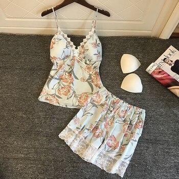2019 Pyjamas Women Satin Sleepwear Flower Print Sleeveless Strap Silk Nightwear Lace Satin Cami Top Pajamas Sets Pijama цена 2017