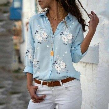 Elegant Long Sleeve Print V-Neck Chiffon Blouse Female Work Wear Shirts  1