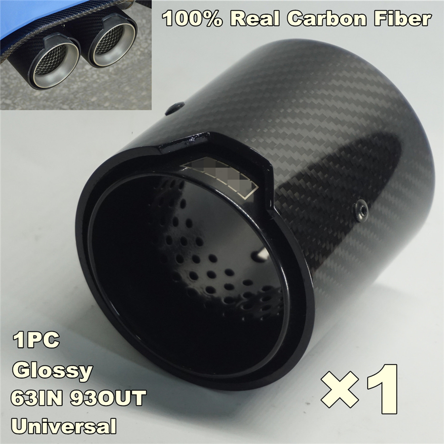1Piece 63MM INLET OD 93MM OUTLET Glossy Carbon Fiber Exhaust tip For BMW M Performance