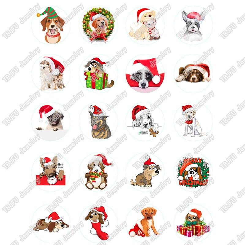 40 Teile/los 10mm 12mm 14mm 16mm Runde Weihnachten Hut Hund Muster Glas Cabochon Für Diy Schmuck, Die Entdeckungen & Komponenten T047