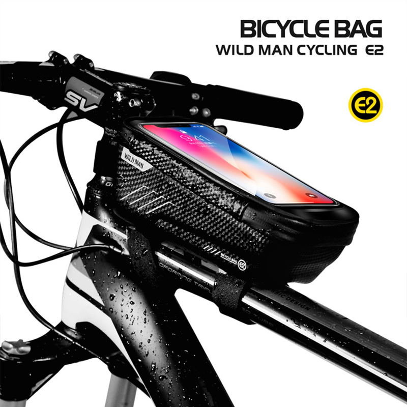 WILD MAN Bicycle Bag Waterproof Press Screen Mobile Phone Bag Cycling Front Top Tube Frame Bag