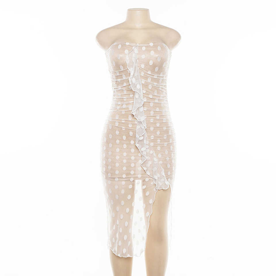 Karlofea Mesh Stippen Vrouwen Jurk Fashion Ruches Side Split Midi Club Party Dress Sexy Strapless Zomer Dames Uitloper Jurk