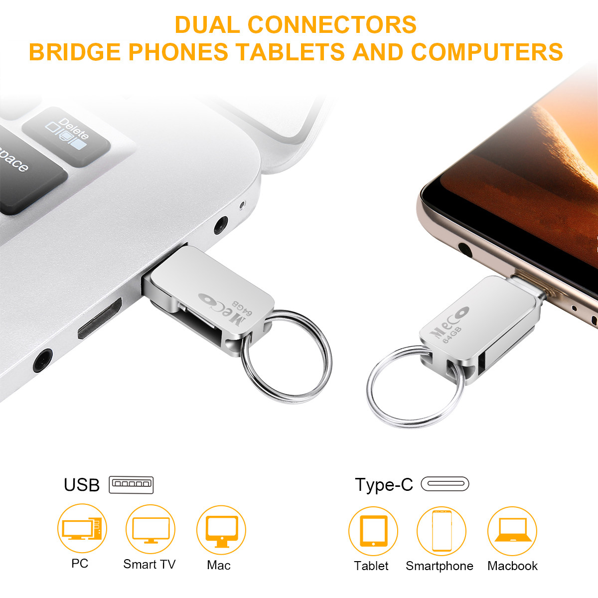 64 gb 2 Dans 1 USB 3.1 Gen 2 USB 3.0 Et Type-C USB Flash Drive Pen Drive avec OTG Fonction Haute Vitesse Mini-clé usb Memory Stick