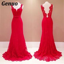 Genuo Sexy Women Summer Dress 2018 Backless Bodycon Red Maxi V Neck Elegant Party Dresses Female Lace Vestidos