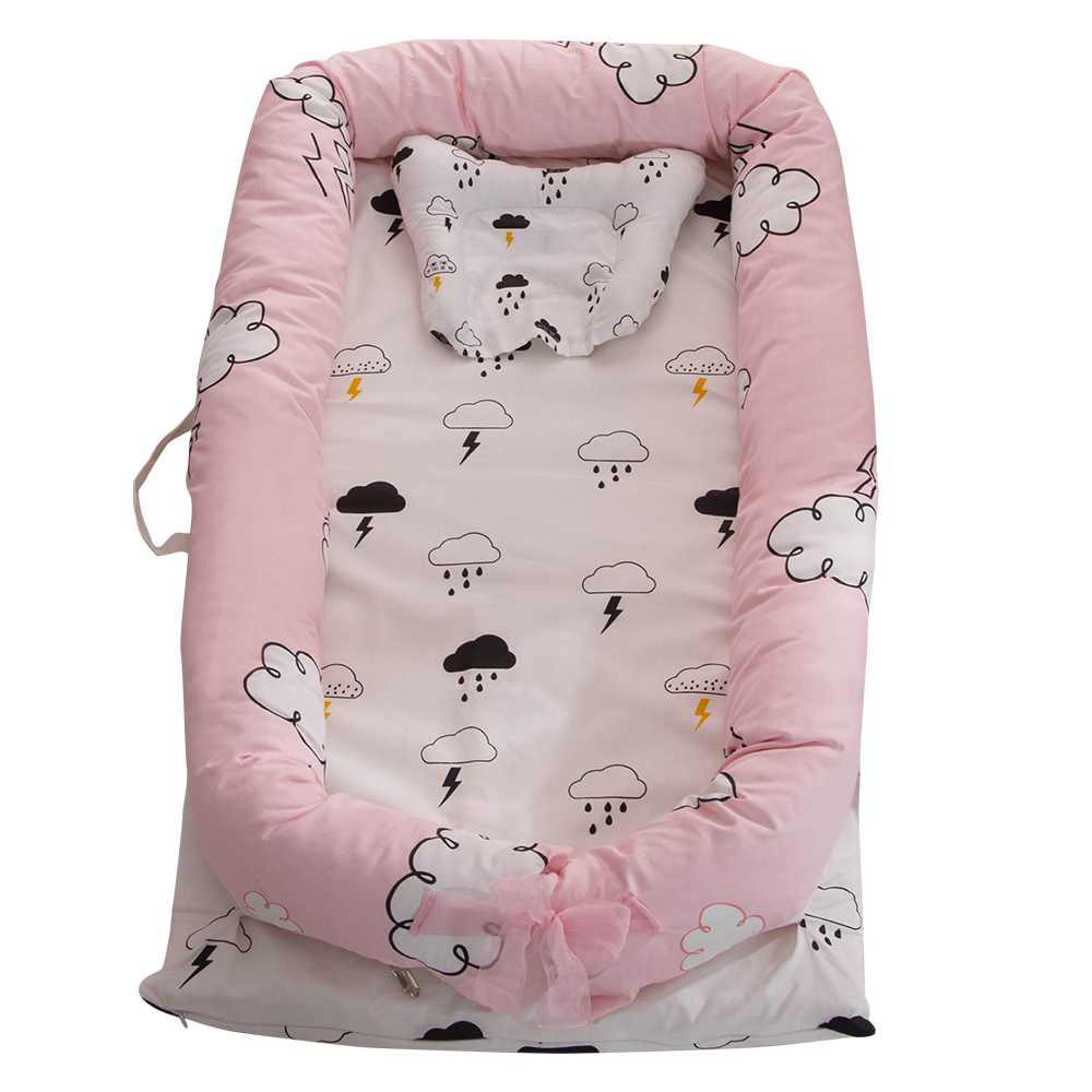 Portable Baby Crib for Baby Bed Co-Sleeping Bassinet Cradles Baby Nest Baby Cot 100% Cotton Super Soft Washable Infant Newborn