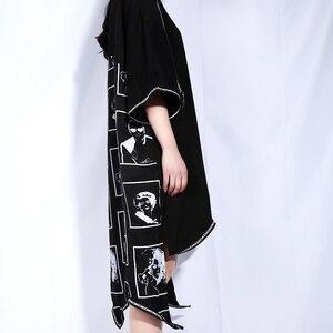 Image 5 - [EAM] 2020 New Spring Summer Round Neck Short Sleeve Black Big Size Letter Printed Irregular Hem Dress Women Fashion Tide JQ326