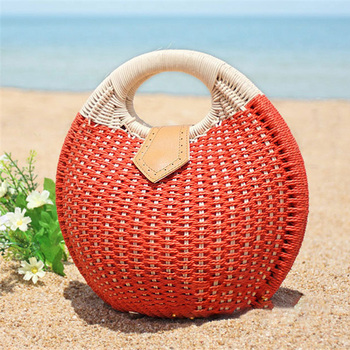 Bohemian Summer Round Handbag Straw Beach Bags  Travel Shopping Tote  Rattan Moon shaped Bag Semicircle Bamboo Box Wooden Purse