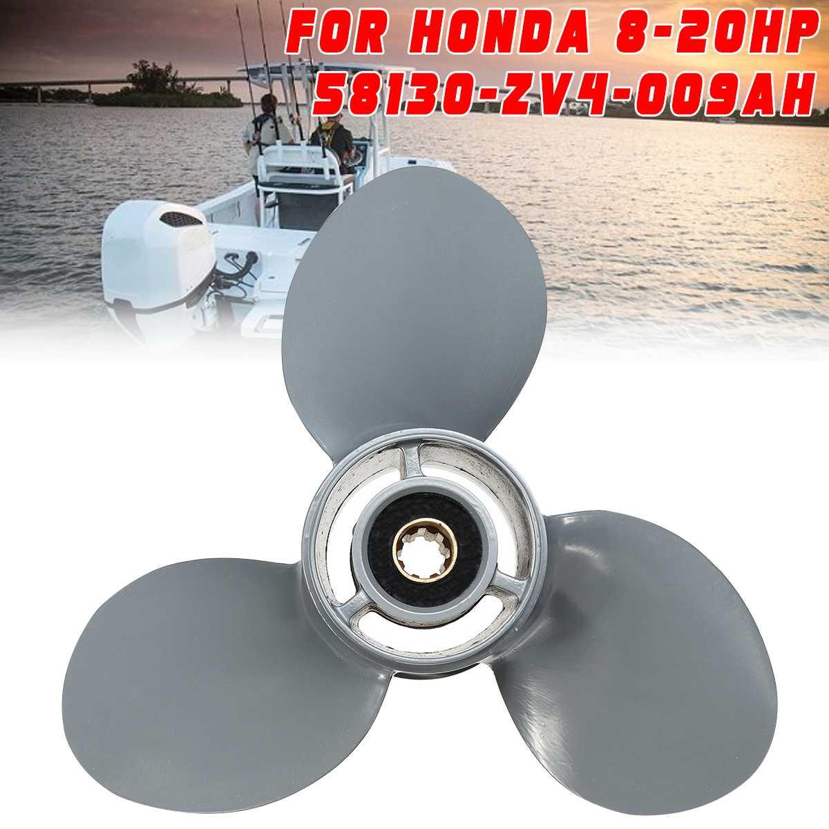 58130-ZV4-009AH 9 1/4 X 9 Propeller For Honda Outboard Engine 8-20HP Aluminum Alloy R Rotation 3 Blades 8 Spline Tooths Gray