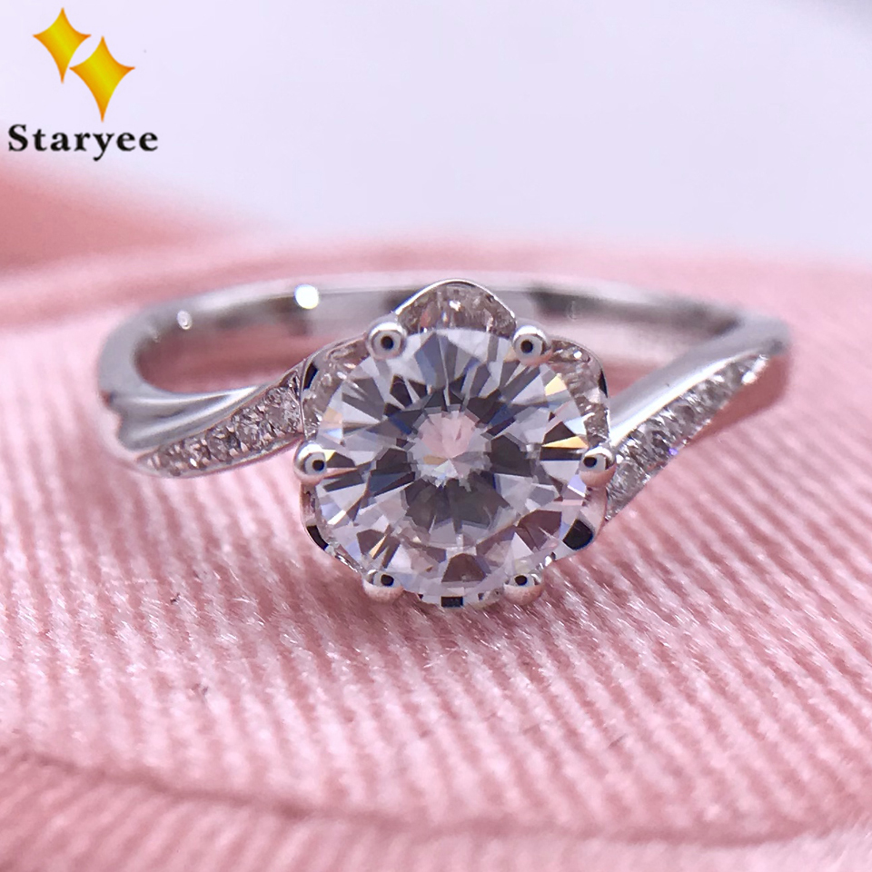 0 8CT Charles Colvard Moissanite Engagement Rings Pure 18K White Gold Hearts Arrows DEF Colorless VVS