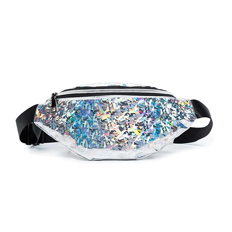 Women's Travel Waist Bag Fanny Pack Holiday Money Belt Wallet Mini Bum Bag Pouch Sequin Summer Fashion Waist Packs Ladies