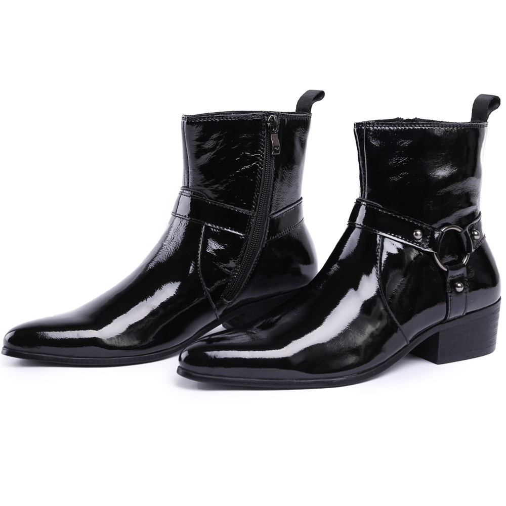 British Style Black Mens Boots Patent Leather Ankle Boots Male Pointed Toe Motorcycle Boots With BuckleBritish Style Black Mens Boots Patent Leather Ankle Boots Male Pointed Toe Motorcycle Boots With Buckle