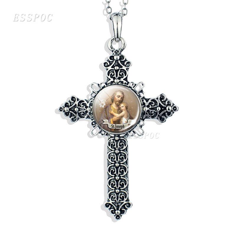 Figlio di Dio Gesù Croce Collana Dei Monili Cabochon In Vetro di Angelo Christian Vergine Maria Paw Prints Del Pendente Delle Donne Regali