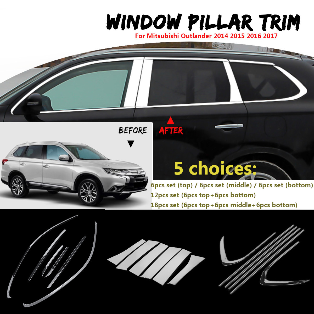 Car Window Pillar Trim Cover Stainless Steel Chrome Decoration for Mitsubishi Outlander 2014 2015 2016 2017 Car Styling 16pcs stainless steel full window trim without center pillar cover 2016 2017 for opel astra k hatchback car styling