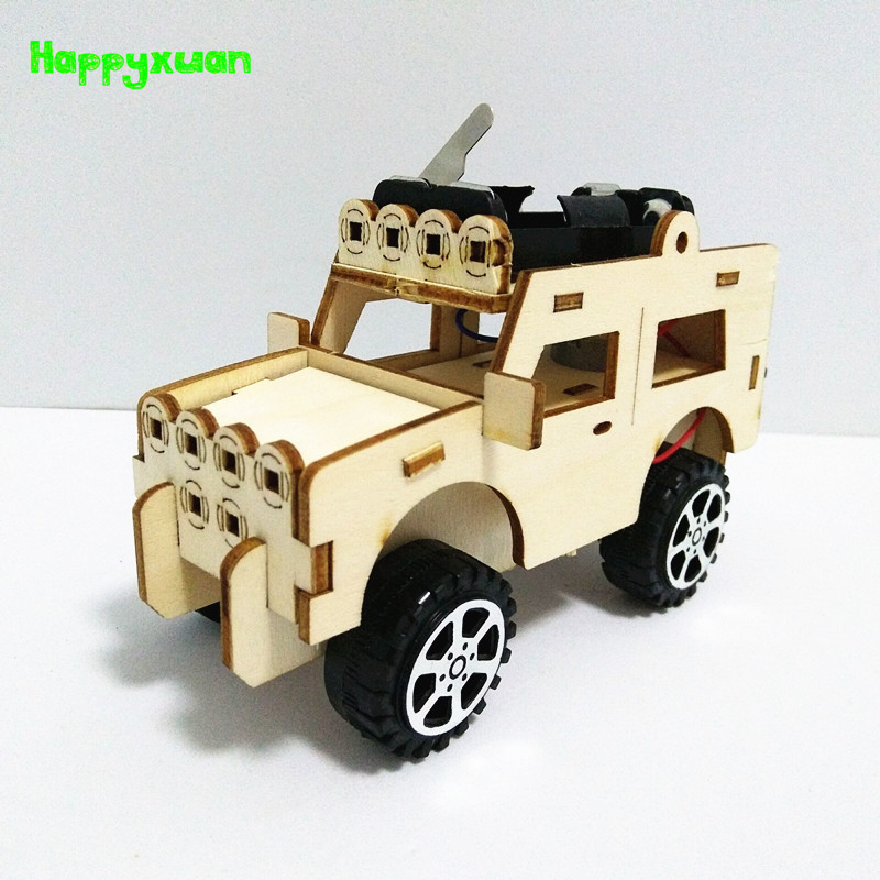 Happyxuan Children Science Experiment Jeep DIY Electric Car STEM Kit Handicraft Supplies Boy Gift Set Physics Fun Toy Technology
