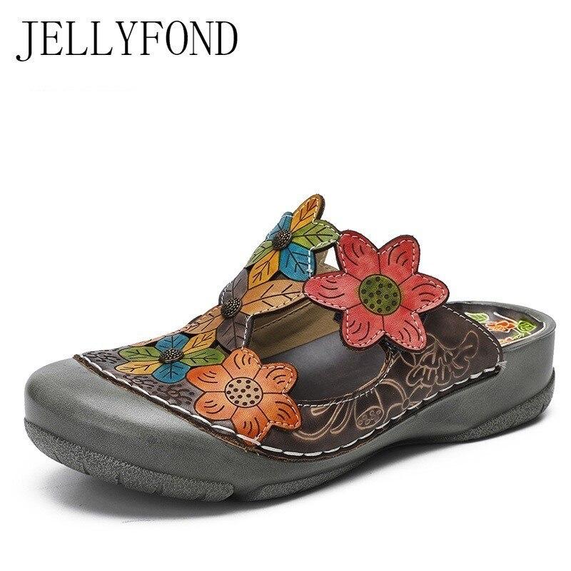 JELLYFOND Designer diapositives femmes en cuir véritable plat pantoufles tongs 2019 Vintage à la main fleur sabot chaussures femme grande taille
